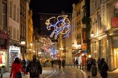 历史中心的圣诞节照明 免版税库存图片