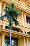 历史修造的越南国家博物馆的建筑学的片段的河内越南 库存图片
