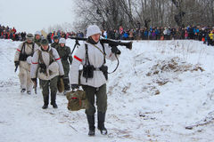 历史再制定在Porozhki,列宁格勒 免版税库存图片