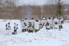 历史再制定在Porozhki,列宁格勒 图库摄影