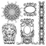 历史利沃夫州的装饰设计元素 库存照片