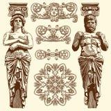 历史利沃夫州的装饰设计元素 免版税库存图片