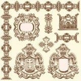历史利沃夫州的装饰设计元素 库存图片