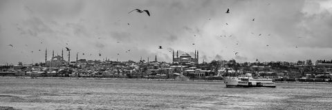 历史半岛的全景在伊斯坦布尔土耳其 图库摄影