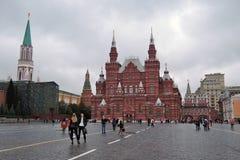 历史博物馆和列宁的陵墓在莫斯科,俄罗斯 免版税库存图片