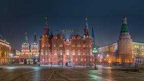历史博物馆的夜视图在莫斯科 免版税库存照片
