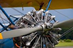 历史双翼飞机引擎 免版税库存照片
