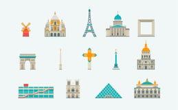 巴黎历史和现代大厦 免版税图库摄影