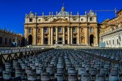 历史圣Peter's大教堂的惊人的看法,梵蒂冈,罗马,意大利 库存图片