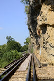 历史在峭壁旁边的死亡铁路 库存照片
