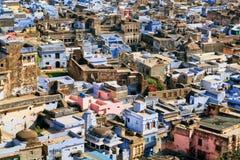 历史城市看法有五颜六色的墙壁的 免版税库存照片