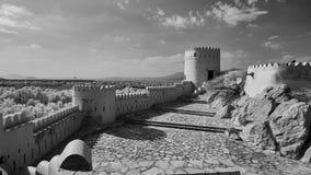 历史堡垒的黑白图象在阿曼 免版税图库摄影