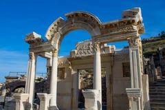 历史大厦古老古色古香的市Efes,以弗所废墟 免版税库存照片