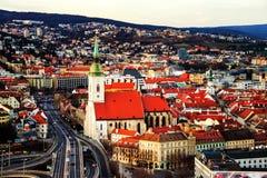 历史大厦鸟瞰图在布拉索夫,斯洛伐克共和国 图库摄影