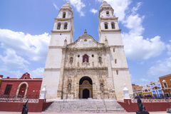 历史大教堂在坎比其,墨西哥 免版税图库摄影