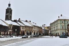 历史市街道Kutna Hora在冬天 免版税图库摄影