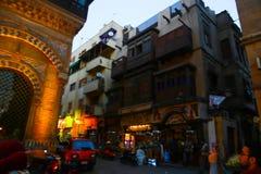 历史建筑老开罗在晚上,埃及 库存照片