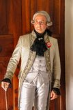 历史服装的人在别墅Sorra, I的Napoleonica事件 库存图片