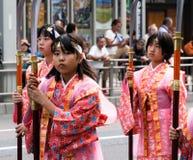 历史服装的日本女孩在Nobunaga节日在岐阜 库存图片