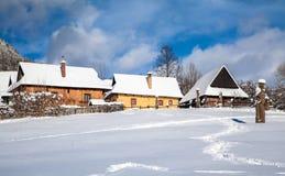历史村庄Vlkolinec,斯洛伐克 库存图片
