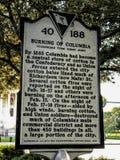 历史标志在哥伦比亚,南卡罗来纳 库存图片