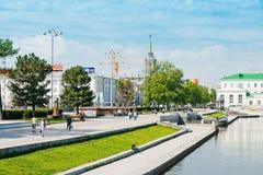 历史正方形在Ekaterinburg,俄罗斯的中心 免版税库存照片