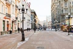 历史步行者Arbat街道在莫斯科 免版税库存照片