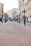历史步行者Arbat街道在莫斯科 库存照片