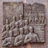 历史浅浮雕在别尔哥罗德州军事荣耀方尖碑,描述去的别尔哥罗德州保卫从纳粹occu的国家 免版税库存图片