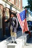 历史爱国者Reenactor,波士顿,美国 免版税库存照片