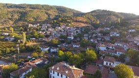 历史白色议院, Sirince村庄,伊兹密尔土耳其 鸟瞰图寄生虫射击 股票视频