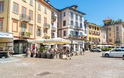 历史的中心的内部在俯视马焦雷湖,意大利 免版税图库摄影