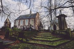 历史的公墓和教堂在跟特,比利时 图库摄影