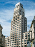 历史的办公室塔大厦在安特卫普,比利时 免版税库存照片