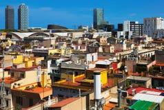 从历史的区的摩天大楼出生 巴塞罗那 库存图片