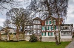 历史的半木料半灰泥的房子,帕德博恩,德国 库存照片