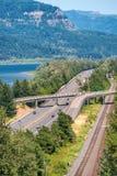 历史的哥伦比亚河高速公路鸟瞰图,俄勒冈-美国 库存图片