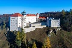历史的城堡在克拉科夫,波兰附近的Pieskowa Skala 库存照片