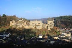 历史的城堡Larochette在卢森堡 库存照片