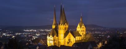 历史的城市在晚上gelnhausen德国 库存照片