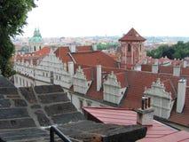历史的城市布拉格看法,好的老地标和大厦、屋顶和塔 捷克共和国的访问,欧洲 免版税库存图片