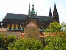 历史的城市布拉格看法,好的老地标和大厦、屋顶和塔 捷克共和国的访问,欧洲 库存图片