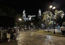 历史的大教堂和大广场在晚上在梅里达,墨西哥 库存照片