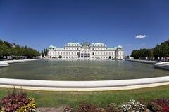历史的宫殿上部眺望楼,维也纳,奥地利 免版税库存照片