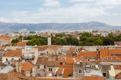 历史的市中心的分裂,克罗地亚的看法 免版税图库摄影