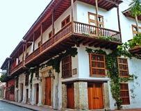 历史的市的西班牙式房子卡塔赫钠,哥伦比亚 免版税库存照片