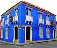 历史的市的西班牙式房子卡塔赫钠,哥伦比亚 图库摄影