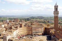 历史的市看法锡耶纳,托斯卡纳,意大利 免版税图库摄影
