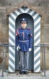 历史的布拉格城堡的主要门户的布拉格城堡卫兵当班外部一,布拉格,捷克 免版税图库摄影