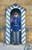 历史的布拉格城堡的主要门户的布拉格城堡卫兵当班外部一,布拉格,捷克 图库摄影